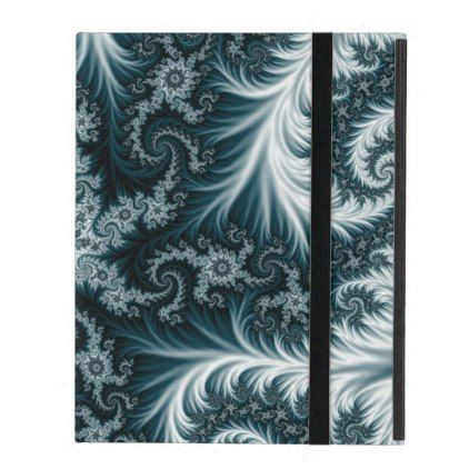 Cyan and white fractal pattern. iPad cover - girly gift gifts ideas cyo diy special unique