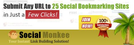 automated social bookmarking tool, Social Monkee for generating bookmarks automatically on 500 something bookmarking sites on daily basis. Ceapest auto bookmark submission software
