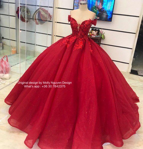 Red Iridescent Ballgown Dress Color Dress Ballgown Wedding