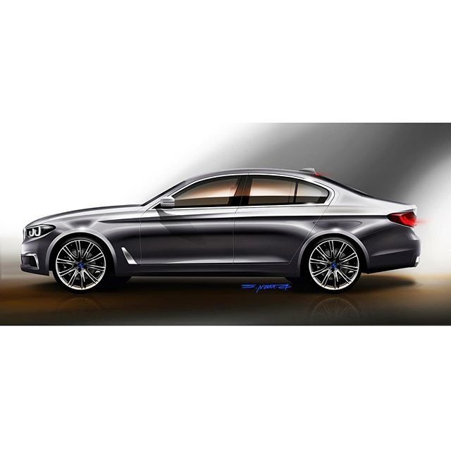 Side profile of 2017 BMW 5 Series - Rendering
