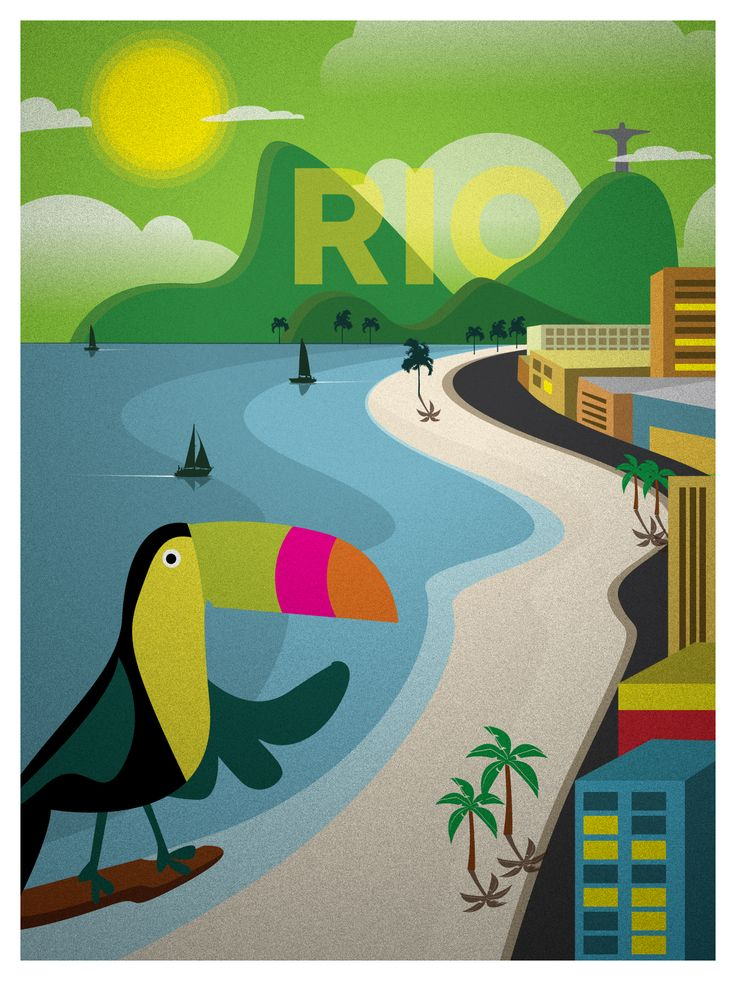 Vintage Rio Print $15 #vintage #travel #posters #illustration