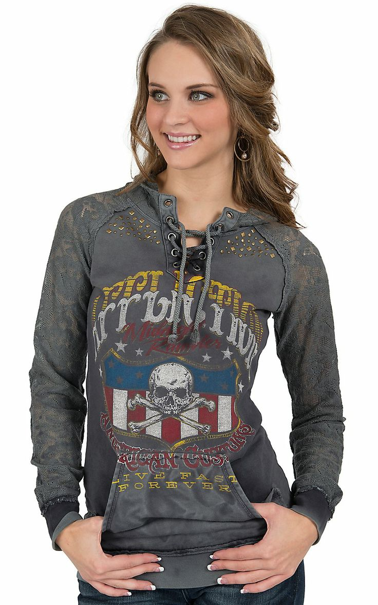 Affliction® Women's Grey On The Road Long Sleeve Pullover Hoodie