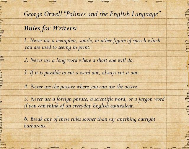 politics and the english language worksheet