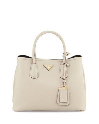 Saffiano+Cuir+Small+Double+Bag,+Light+Gray+(Pomice)+by+Prada+at+Bergdorf+Goodman.