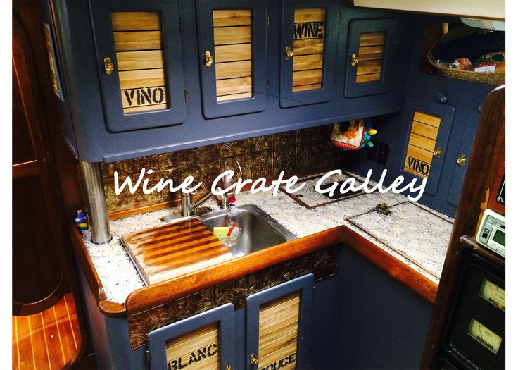 boat interior design inspiration wine crate galley we here at sailboat interiors get so excited