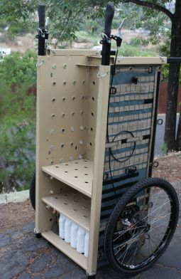 Exodus cart, holds up to 450 pounds.  Looks kind of like an old file cabinet...