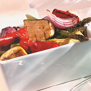 Marinated Grilled Vegetable Salad | MyRecipes.com  Great for summer, mixed with orzo and feta