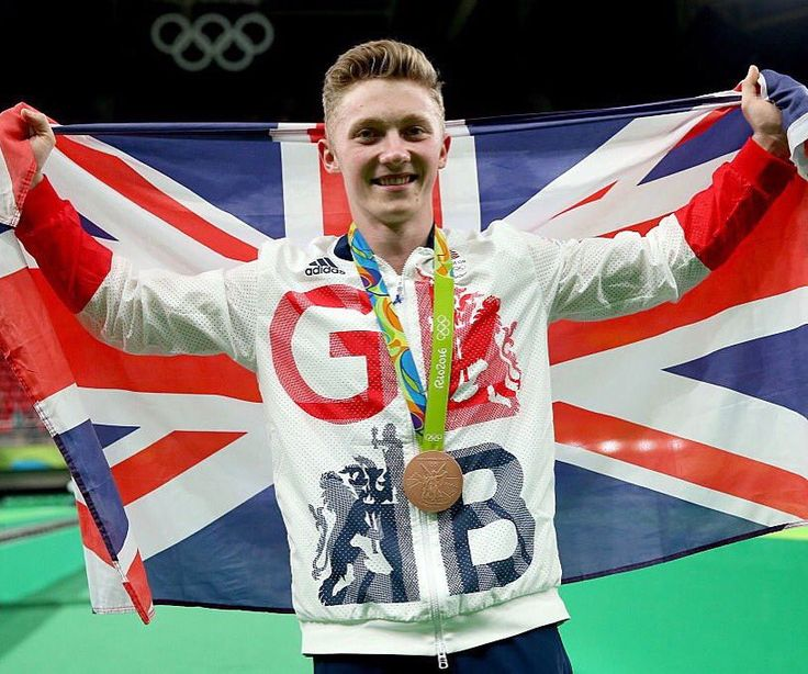 08.16.16 Nile Wilson (GB) celebrates his bronze in the high bar event final. …