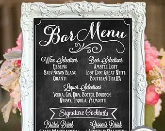 Wedding Bar Menu Chalkboard Sign Personalized by BeauTiedAffair