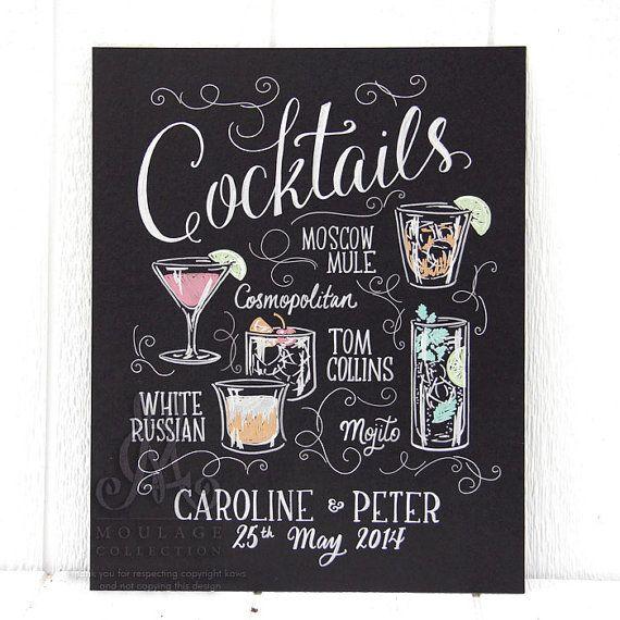 Cocktail Menu 15 Quot X20 Quot Art Board Custom Ink Drawing