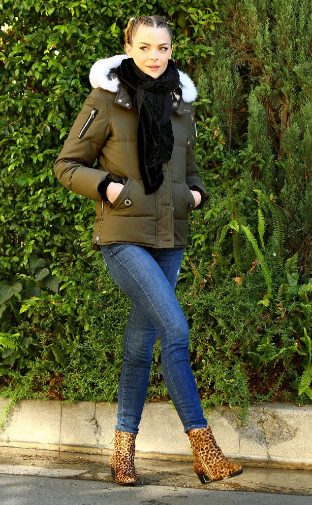 Brr, Baby from Jaime King's Street Style  With colder weather moving through Los Angeles, Jaime bundled up in this green Moose Knuckles 3Q parka, a Balmain scarf, and some animal print booties.