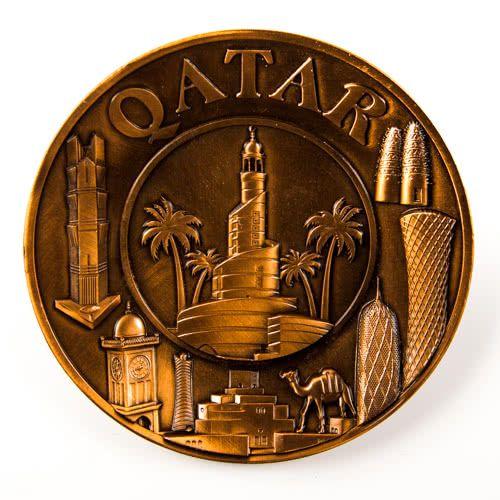 Souvenir Plate: Qatar. Collage (Bronze Color). Diameter 11 cm