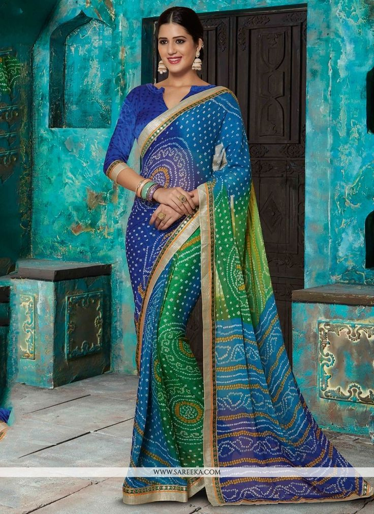 This multi colour faux chiffon designer saree is including the wonderful glamorous showing the feel of cute and graceful. The ethnic patch border and print work over a dress adds a sign of elegance st...