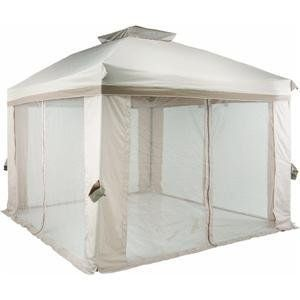 10' Pitched Roof Style Gazebo by Pacific Casual - JGZ. $220.26. The flexible design of this 10' x 10' pitched roof style portable patio gazebo makes it ready to Get Up & Go. Includes a double vented roof and corner curtains of polyester fabric in light and dark tan colors with mosquito netting attached. Made of steel upper construction with aluminum posts and bullet pin mechanism make it sturdy and lightweight. Easy assembly - no tools required. Storage bag included...