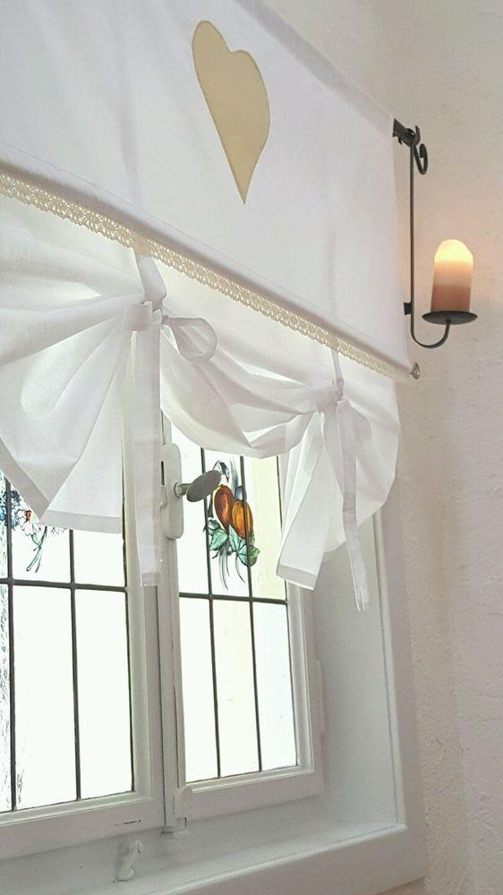 Inspirational Details zu Raffrollo Shabby Chic Herz SAND Le Coeur Gardine Landhaus