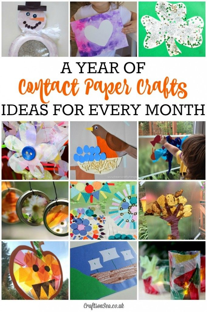 These fun kids contact paper crafts for every month will keep kids busy all year round! Simple, cheap craft ideas with suncatchers, mandalas and flowers.