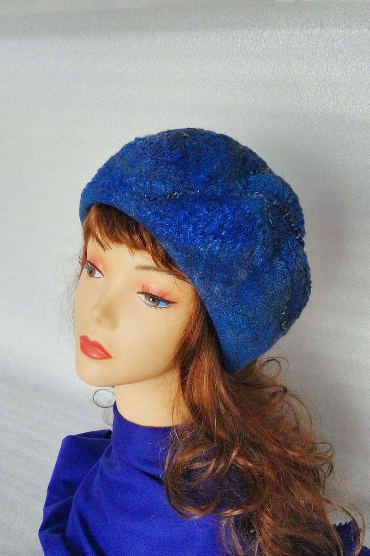 Felt hat, Women felt hat, felt beret, wool beret, wool cap, beret for winter hat for winter, warm beret, warm hat, blue beret, blue hat. by FeltEcoStyle on Etsy