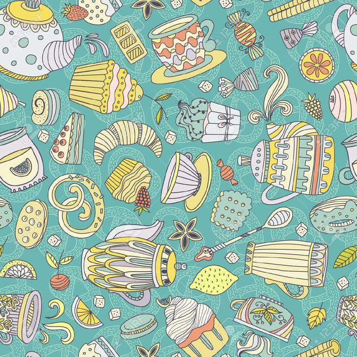 Симпатичные бесшовные шаблон с сладости и десерты: кекс, мороженое, чайник. Doodle стиль вектор. Хлебобулочные изделия, меню ресторана и чаепитие фон. Клипарты, векторы, и Набор Иллюстраций Без Оплаты Отчислений. Image 36182706.