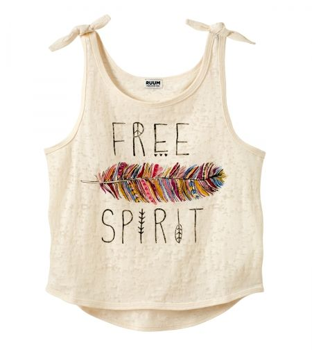 Might be a girl's top, but I bet it could be a woman's crop top. And while normally the over exposure to feathers and free spirits would put me off, this is just so toasty in colour and cooling in design, and I do like the sentiment, nice to see a happy r