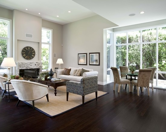 Grey Living Rooms With Dark Floors And Espresso Furniture ...