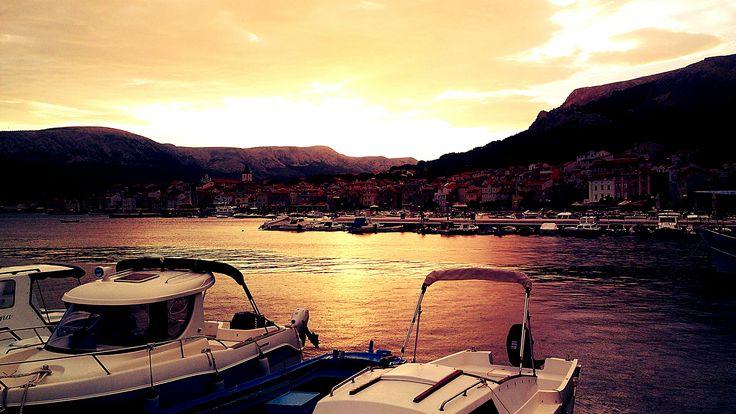 Sunset on Baška, Croatia 2014. #Baska #Krk #Croatia #sunset #sea #boats #harbor #travel