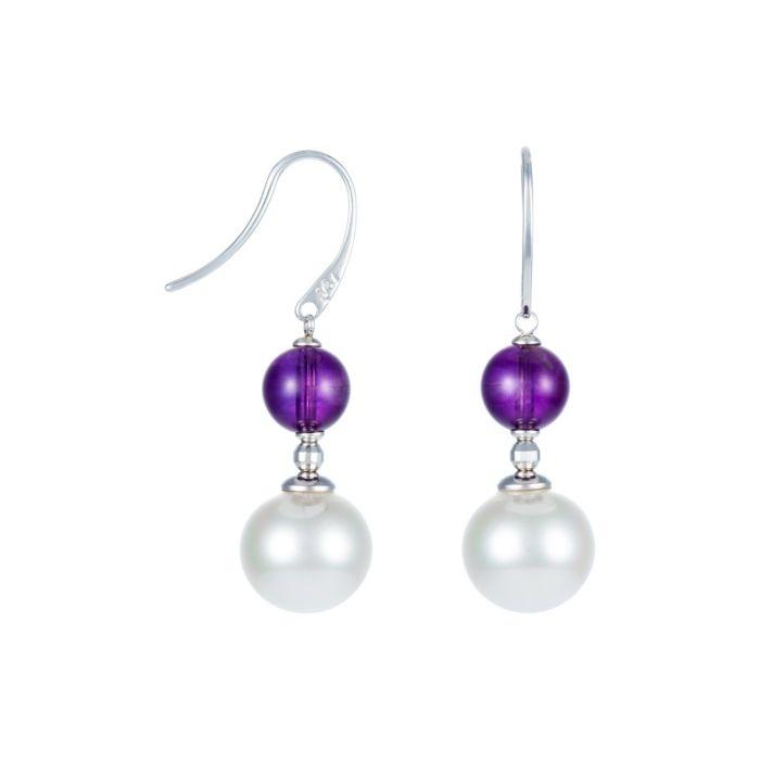 White Pearl & Amethyst Drop Earrings (MAJORICA2 1060863)