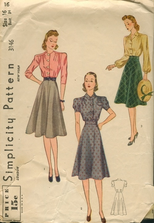 good every day style: 1930S Simplicity, 1940S Fashion, Simplicity 1940 S, 1940 S Patterns, Vintage 1940S, Circles Skirts, 1940 Fashion, Simplicity Patterns, Dresses Sewing Patterns