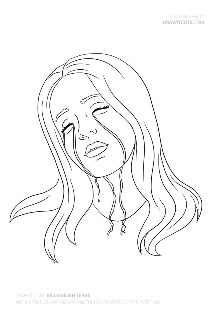 How To Draw Billie Eilish Tears With Images Szkice Rysunek