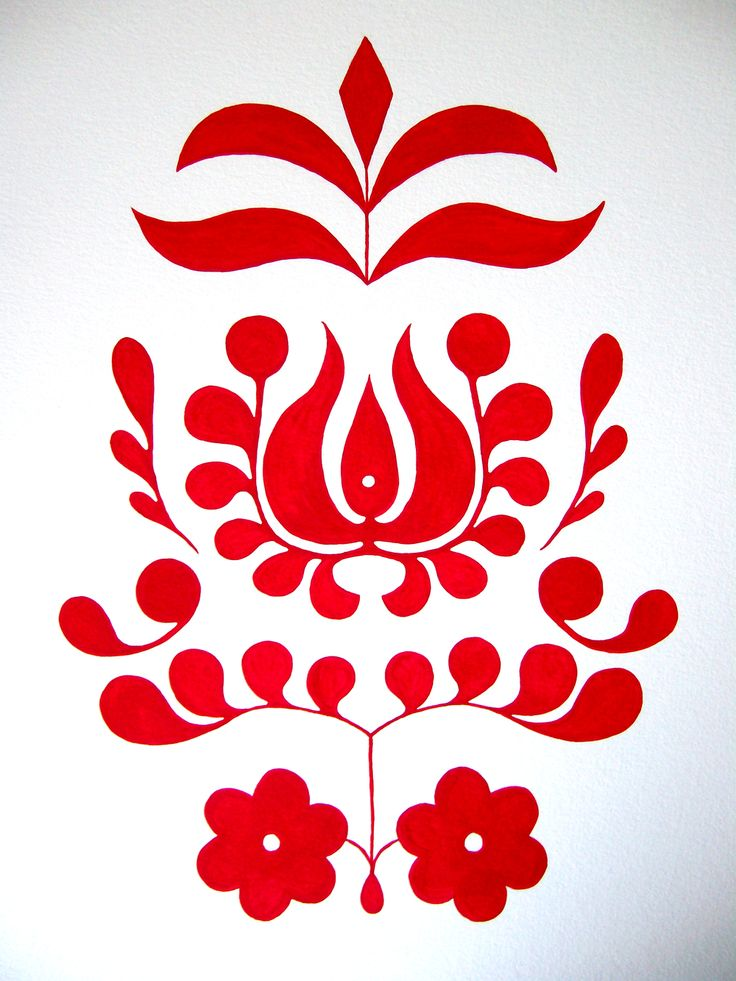 A Drawing A Day - Day 32 - 2/1/15 - red folk art motif - gouache