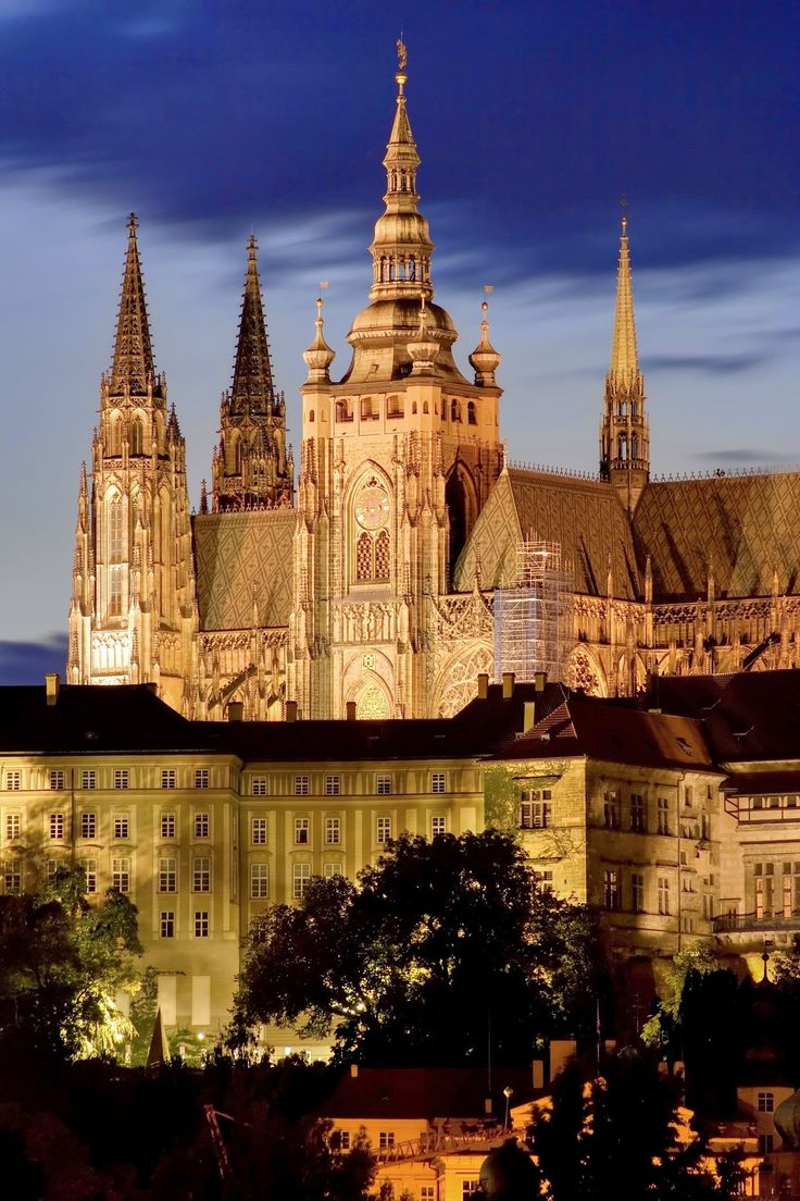 Prague Castle, Czech Republic. is a castle complex dating from the 9th century and the official residence of the President of the Czech Republic. The castle was a seat of power for kings of Bohemia, Holy Roman emperors, and presidents of Czechoslovakia. The Bohemian Crown Jewels are kept within a hidden room inside it.