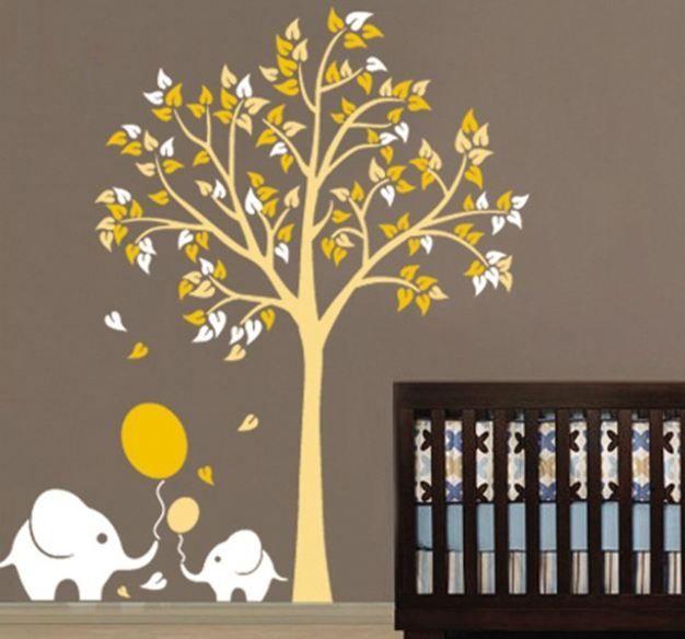 Luxe muursticker boom met olifant (geel) wanddecoratie, inrichting voor de kinderkamer of babykamer.