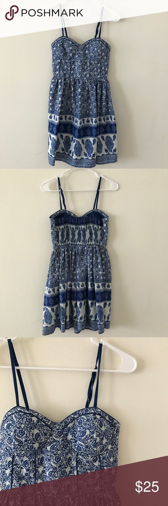 American Rag • Blue and White Summer Dress American Rag • Obsessed with this American Rag dress. Blue and white patterns. Adjustable straps. Padded chest. Lining underneath. Awesome condition.   🌸 No trades. 15% off bundles of at least 2 items. 🌸 American Rag Dresses Mini