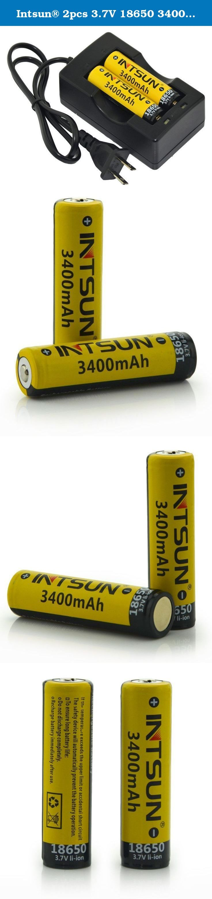 Intsun® 2pcs 3.7V 18650 3400mah Rechargeable Li-ion Battery with PCB and 18650 battery Charger for LED Flashlight, Headlamps, search light lamp, etc. Features: * High quality and durable. * No memory effect, Environmentally friendly. * Provides excellent continuous power sources to your device. * This battery has an extra long life for all your battery powered devices. * With overcharge / discharge protection function that you can use it without worry. * Can be used in laser pointer, Led...