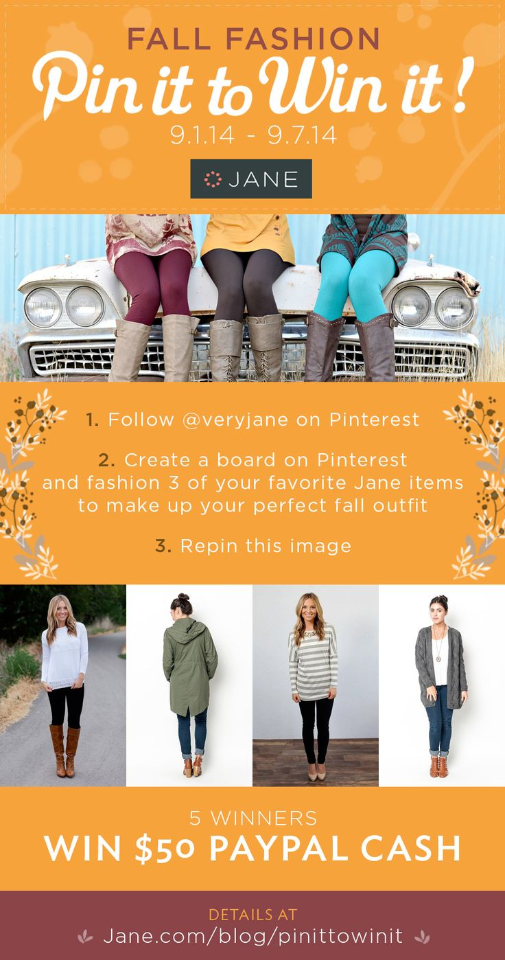 { #PinIttoWinIt Contest! } Jane.com is hosting a Fall Fashion Pin It to Win It contest. 5 Winners each receive $50 PayPal Cash!!  Read the details here: http://vryjn.it/jane-fallpin2win-pin