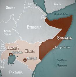 Minnesota linked Al-Shabaab Map with general area of al-Shabaab  presence in Somalia