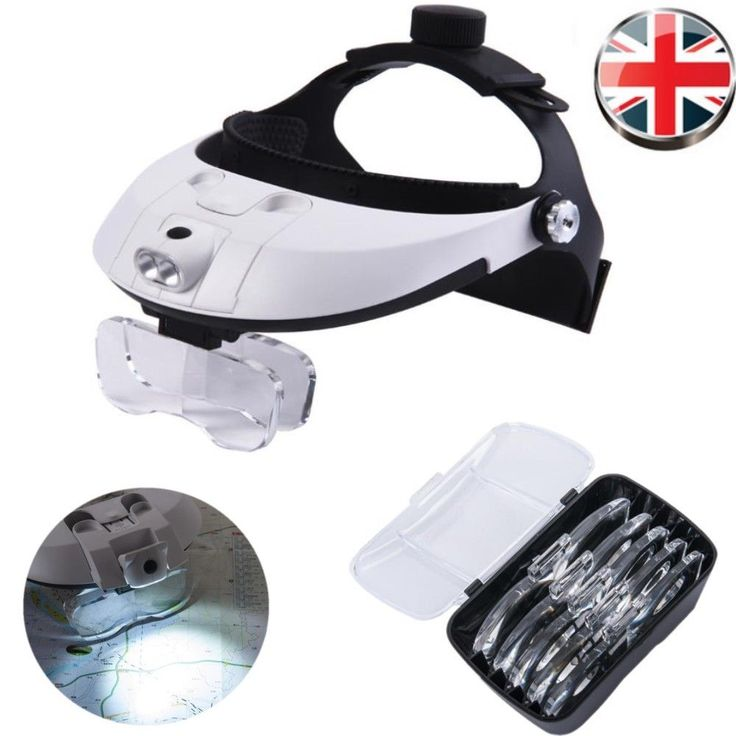 Headband Head-Mounted 2 LED Lamp Light Jeweler Magnifier Magnifying Glass Loupe