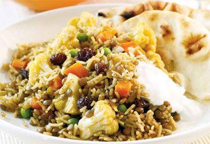 Riz aux lentilles et aux légumes à l'indienne
