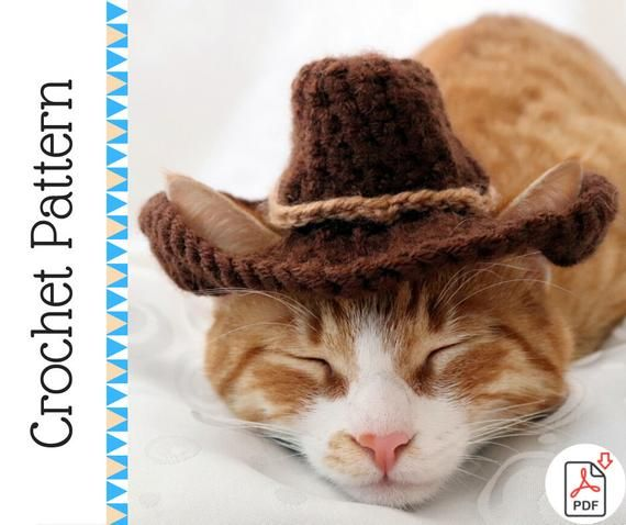 Crochet Pattern Cowboy Hat For Cats With Ear Holes Pdf Etsy Crochet Cat Hat Cat Hat Pattern Crochet Hats