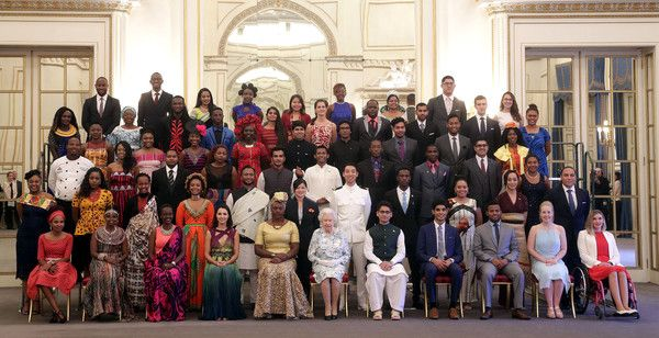 Queen Elizabeth II poses for a group photo at the 2017 Queen's Young Leaders Awards Ceremony at Buckingham Palace on June 29, 2017 in London, England. The Queen's Young Leaders Programme was launched at the time of her Diamond Jubilee and aims to discover, celebrate and support young people across the Commonwealth.