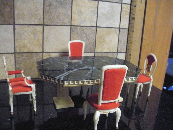 Ideal Petite Princess Dining Table Four Chairs Vintage Dollhouse Furniture
