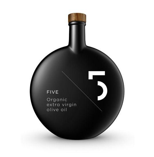"5.Five. Organic Olive Oil in black mat finish bottle. By Greek design agency ""Designers United""."