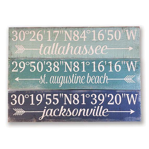 GPS Coordinates Sign - Set of 3 - Latitude Longitude Sign - Coordinates Sign - Important Places Signs - Wedding Gift - Housewarming Gift