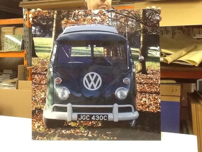 Our latest campervan  plaque, a Splitscreen enjoying the Autumn scenery, made into a huge kitchen splashback of 750mm x 750mm, a stunning backdrop to the hob. Picture taken in the factory before it was sent out.