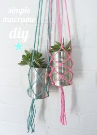 Macrame hanging plant holder - for tin cans, glasses, or mason jars. (I think they'd look great with the tins painted too! Maybe neon or pastel with white yarn?) #DIY