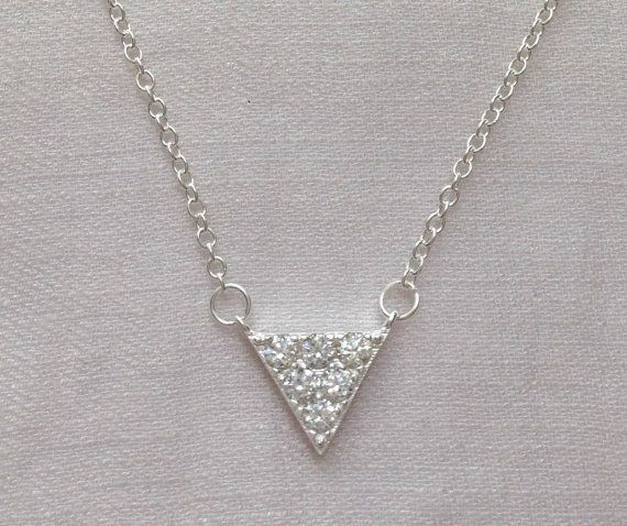 Sterling Silver or 18K Gold Plated - Trialgle Necklace with Cubic Zirconia stone Material: 18K Gold Plated on 925 sterling silver or Sterling Silver