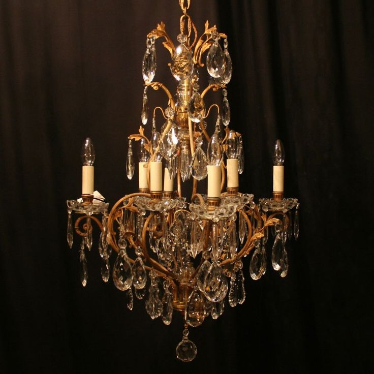Elegant French gilded crystal antique chandelier.