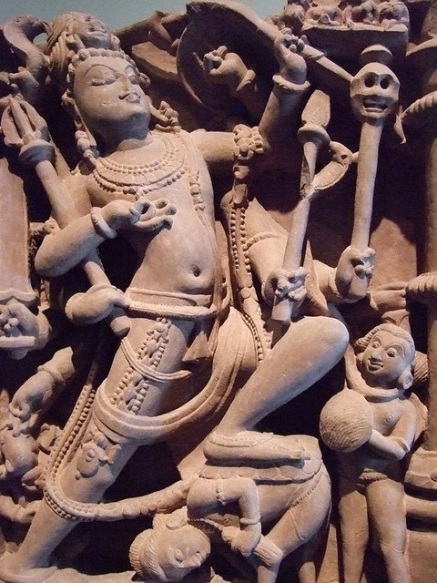 Hindu deity Shiva as destroyer of the three cities of the demons 1000-1100 CE central India sandstone by mharrsch, via Flickr