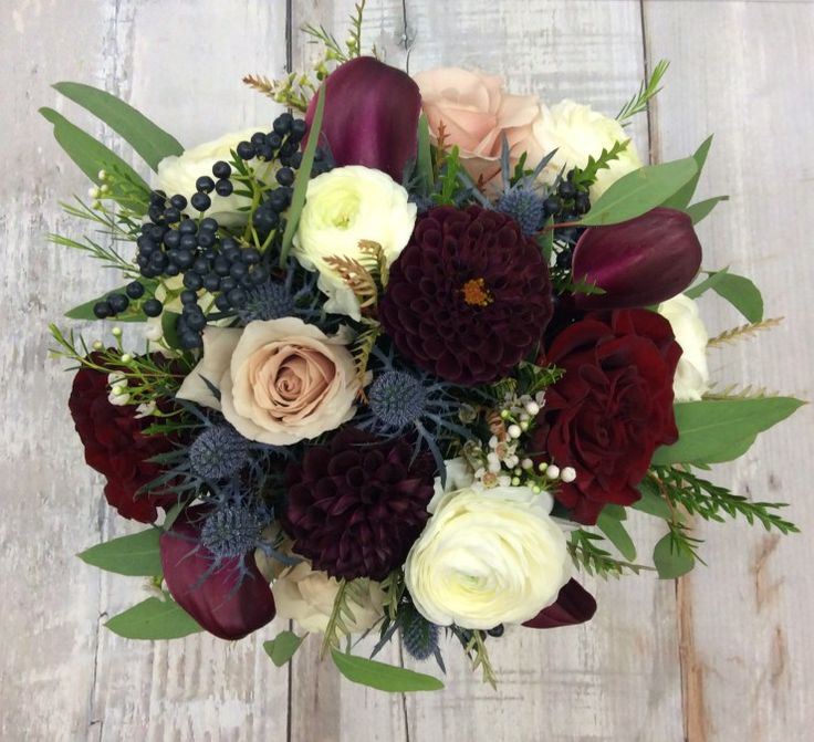 Wedding Flowers November: My Second Favorite. Burgundy, Navy, Cream And Champagne