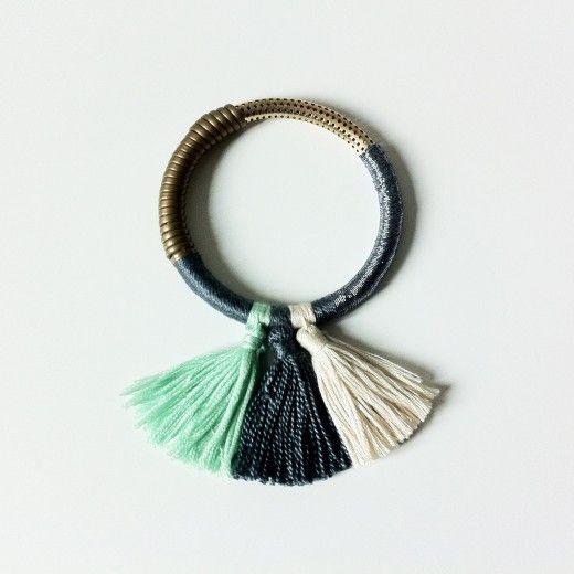 Le kit bracelet Pompon Bleu - Milh - La mercerie en ligne