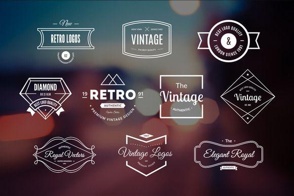 10 Retro Logos Vol. 14 by Piotr Lapa on Creative Market